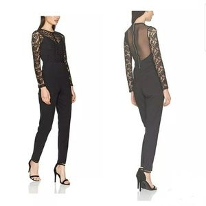 French Connection Black Lace and Sheer Jumpsuit